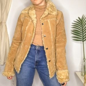 80s Wilson's Leather Sherpa Lined Camel Suede Coat
